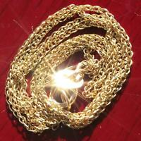 "10k 417 yellow gold square wheat chain necklace 16.0"" diamond cut vintage"