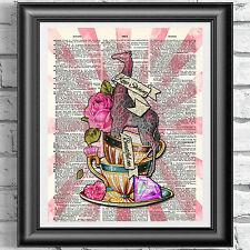 Stampa artistica sulla pagina del libro antico originale tatuaggio rosa giraffa diamante DIZIONARIO