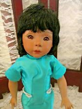 "Oriental Bisque Doll/ 13"", Unknown Artist, Clean w/ no damage, stand"