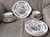 9 - Vintage Royal Ardalt England Plates  Asian Floral Dessert Set w/Cups&Saucers