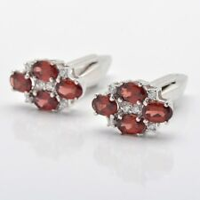 925 Sterling Silver Natural Red Garnet Gemstone & CZ Men's Cufflinks Jewelry