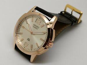 seiko quartz big face men's gold plated silver dial japan watch working