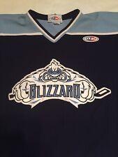 Men'S Aahl Western Michigan Blizzard #24 Hockey Jersey Blue Xl W/Fight Strap