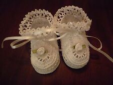 White Corchet Baby Booties with Flower