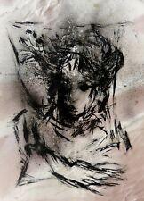 EXPRESSIONIST PORTRAIT original art drawing painting face Frederic BELAUBRE