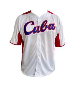 CUBA BASEBALL JERSEY WHITE & RED
