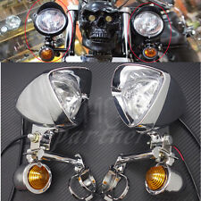 New Chrome Turn Signal LED Driving Passing Spot Fog lights Bar F Chopper Custom