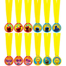 SESAME STREET Stars AWARD MEDALS (12) ~ Birthday Party Supplies Plastic Favors
