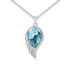 Cristal Azul Blanco Collar Chapado Oro con Swarovski Elements