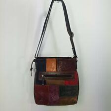 Fossil  Patchwork Crossbody Bag Leather Vintage Boho Style