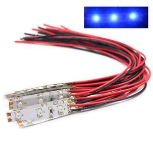DD01B 10pcs Pre Wired BLUE Strip Led Light Self-adhesive Flexible 12V ~ 18V NEW