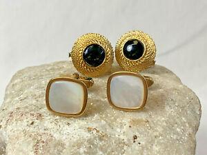 2 Set of Goldtone Cuff Links Round Black Stone MOP Swank 12K Gold Filled Jewelry