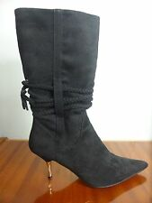 As New black stiletto faux Suede faux Leather silver heel mid calf boots sz 8