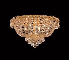 """World Capital Empire 20"""" 9 Light Flush Mount Crystal Chandelier Lighting Gold"""