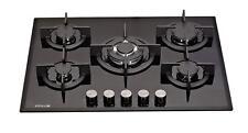 MILLAR GH7051PB 5 Burner Built-in Gas on Glass Hob 70cm - Cast Iron Stands & Wok