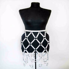 Sexy Caged Weave Round Plaid Shaping Leather Harness Body Bondage Skirts Chain