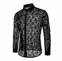 Mens Lace Sexy Casual Shirt Stand Collar Long Sleeve Floral Party Spring Button