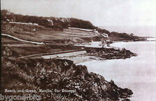 BEACH AND GREEN MOVILLE CO DONEGAL POSTCARD 1930's IRELAND.