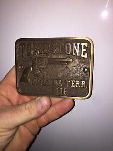 Tombstone Arizona Territory Solid Metal Plaque Brass Law Man Wyatt Earp Western