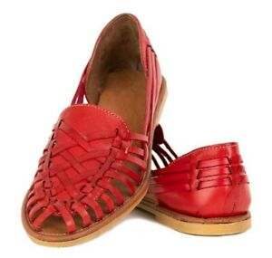 Mexican Sandals Huaraches Women's - RED - Leather Handmade