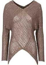 Wunderschöner Pullover mit Ajour-Muster und Lurexfäden Gr.40/42