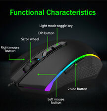 Red Dragon LED RGB Backlit Wired Optical 7 Button Gaming Mouse - 10,000 Max DPI