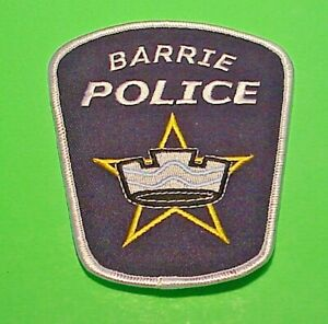 """BARRIE  ONTARIO  CANADA  4 1/2""""  POLICE PATCH  FREE SHIPPING!!!"""