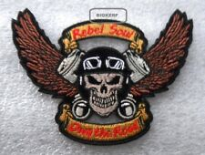 """PISTON REBEL SKULL  OWNS THE ROAD   BIKER PATCH - IRON OR SEW  4 1/2""""  X  3 1/4"""""""
