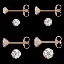 1 Paar Ohrstecker 925 Silber Rose Vergoldet Rotgold Zirkonia Rosegold Ohrringe
