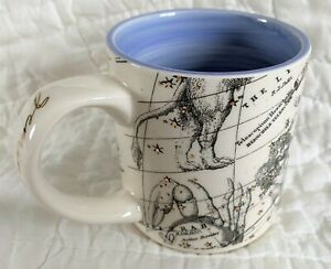 ANTHROPOLOGIE Salt & Earth Gemini Coffee Mug Astrology Chart Gold Blue Black