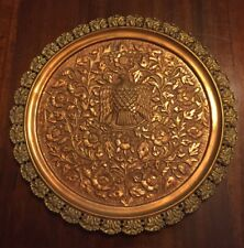 """Vintage Copper Raised Wall Hanging Plate Eagle With Flowers 13"""""""
