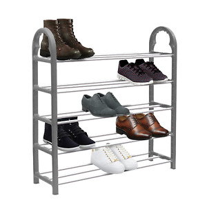 5 Tier SHOE RACK Stand Storage Organiser Compact SPACE SAVE Shelf Grey