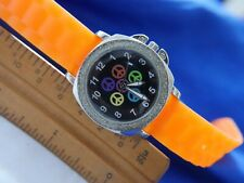 PEACE LTD COMMODITIES 780599 ORANGE SILICONE SILVER TONE WATCH new battery !!!