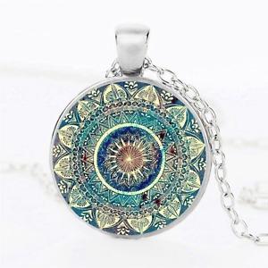 Om Bhuddist Lotus Flower Mandala Pendant Necklace - UK Stock