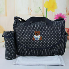 3Pcs Waterproof Baby Changing Diaper Nappy Mummy Bag Bottle Holder Handbag Black
