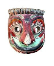 Vintage Handcrafted Wooden Mask Hand Carved Tribal Painted Hanging Wall Art Deco