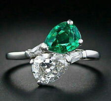 Cocktail Party Jewelry 925 Sterling Silver Green White Pear Baguette Cz Women Nw