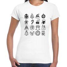 grabmybits - Ladies Christmas Items Sketch T Shirt, Xmas Holiday Gift Tee