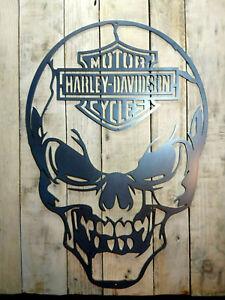 LARGE * Harley Davidson Skull Metal Wall Sign Hand Finished motorbike cycle