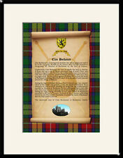 CLAN BUCHANAN - Clan History, Tartan, Crest, Castle & Motto MOUNTED PRESENTATION