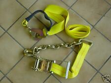 "2""x9', ratchet ,tie down axle strap, CHAIN AND GRAB shackle clevis autotransport"