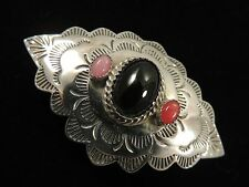 """SILVER CLOUD 925 Sterling Silver NATIVE AMERICAN STYLE ONYX 2 1/4"""" HAIR CLIP"""