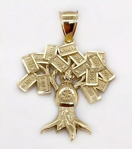 10K Yellow Gold Diamond Cut $100 Lucky Money Bag Tree Dollar Pendant 3.8 Gr Mens