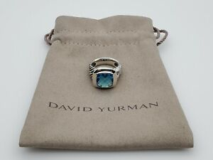 David Yurman Sterling Silver 925 Albion Ring with Blue Topaz 11mm Size 8