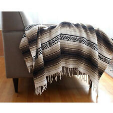 Authentic Tan Mexican Falsa Blanket Hand Woven Mat Bed Blanket 72L x 48W