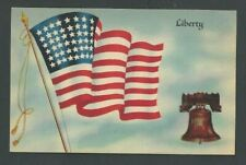 Ca 1914 Ppc Liberty Flag & Bell Patriotic Mint