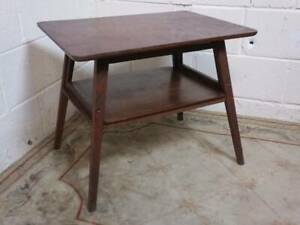 RETRO STAINED 2 TIERED OAK  COFFEE / OCCASIONAL TABLE, RECTANGULAR