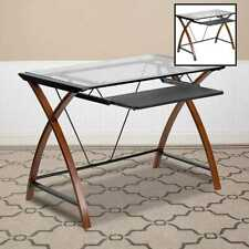 Flash Furniture Glass Computer Desk W Pull Out Keyboard Tray & Crisscross Frame