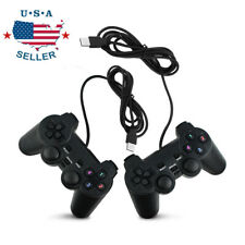 2PCs USB Wired Game Controller Gamepad Joystick Fit for PC Laptop Windows Black