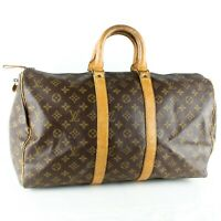 LOUIS VUITTON KEEPALL 45 Old Model Boston Travel Bag Purse Monogram Brown